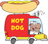 African American Hot Dog Vendor Driving Truck — Stock Photo
