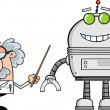 Funny Scientist Or Professor Shows His Pointer A Big Robot — Stock Photo #49898303