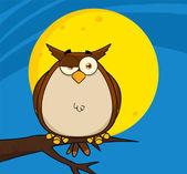 Owl Cartoon On Tree In The Night — Stock Photo