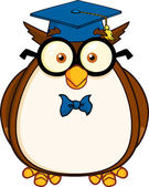 Wise Owl Teacher Cartoon Character With Glasses And Graduate Cap — Stock Photo