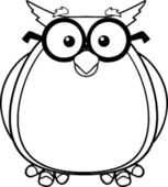 Black And White Wise Owl Teacher Cartoon Character With Glasses — Stock Photo