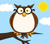 Wise Owl On Tree Cartoon Character — Stock Photo