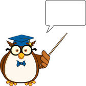 Wise Owl Teacher Cartoon Character With A Pointer And  Speech Bubble — Stockfoto