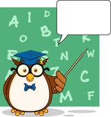Wise Owl Teacher Character With A Speech Bubble And Background — Stockfoto