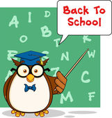 Wise Owl Teacher Cartoon Character With A Speech Bubble And Text — Stockfoto