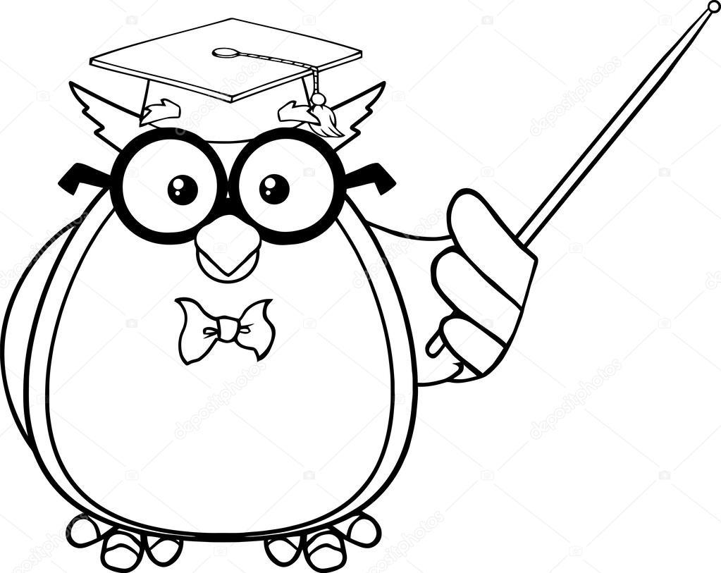 Bianco e nero gufo saggio insegnante cartone animato con