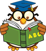 Wise Owl Teacher Cartoon Mascot Character Reading A ABC Book — Stock Photo