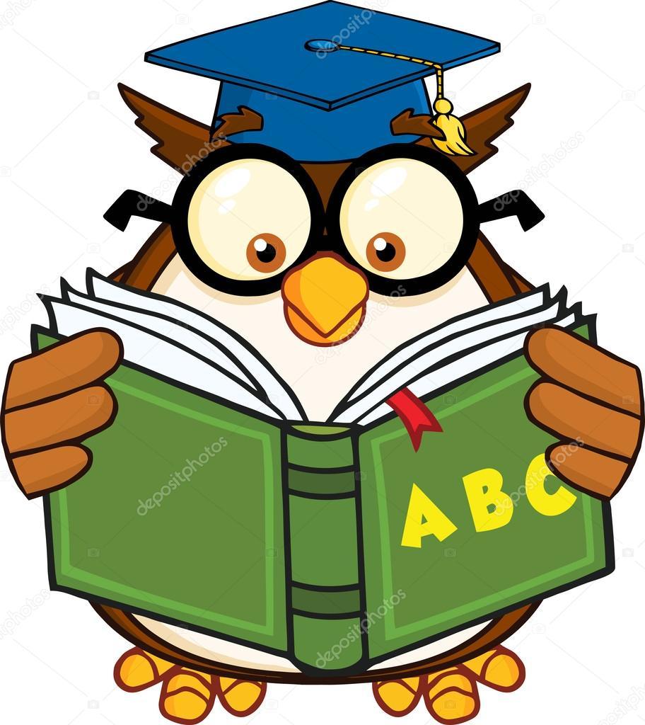 Cartoon Characters Reading : Wise owl teacher cartoon mascot character reading a abc