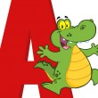 Funny Cartoon Alphabet-A With Alligator — Stock Photo #51012427