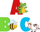 Funny Cartoon Alphabets With Animals. Collection Set — Stock Photo