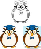 Wise Owl Teacher Cartoon Character 2. Collection Set — Stock Photo