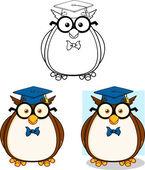 Wise Owl Teacher Cartoon Character 2. Collection Set — Stock Photo
