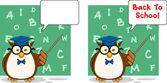 Wise Owl Teacher Cartoon Character 4. Collection Set — Stock Photo