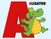 Funny Cartoon Alphabet-A With Alligator And Text — Stock Photo