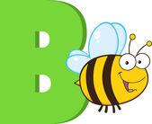 Alfabeto engraçado dos desenhos animados-b com abelha — Fotografia Stock