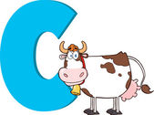 Funny Cartoon Alphabet-C With Cow — Stockfoto
