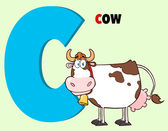 Funny Cartoon Alphabet-C With Cow And Text — Stock Photo