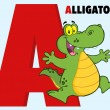 Funny Cartoon Alphabet-A With Alligator — Stock Photo #51244423
