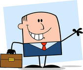Smiling Businessman Character Waving On Background — Stockfoto