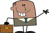 African American Businessman Cartoon Character Waving — Stockfoto