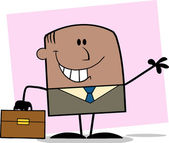 Smiling African American Businessman Character Waving On Background — Stockfoto