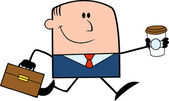 Smiling Businessman Cartoon Character Waving — Stock Photo