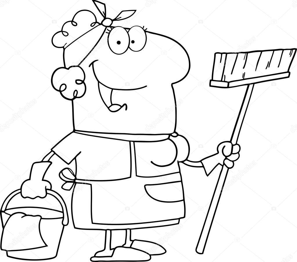 概述清洁工卡通人物