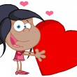 Young African American Girl Holds A Red Heart — Stock Photo #8828946