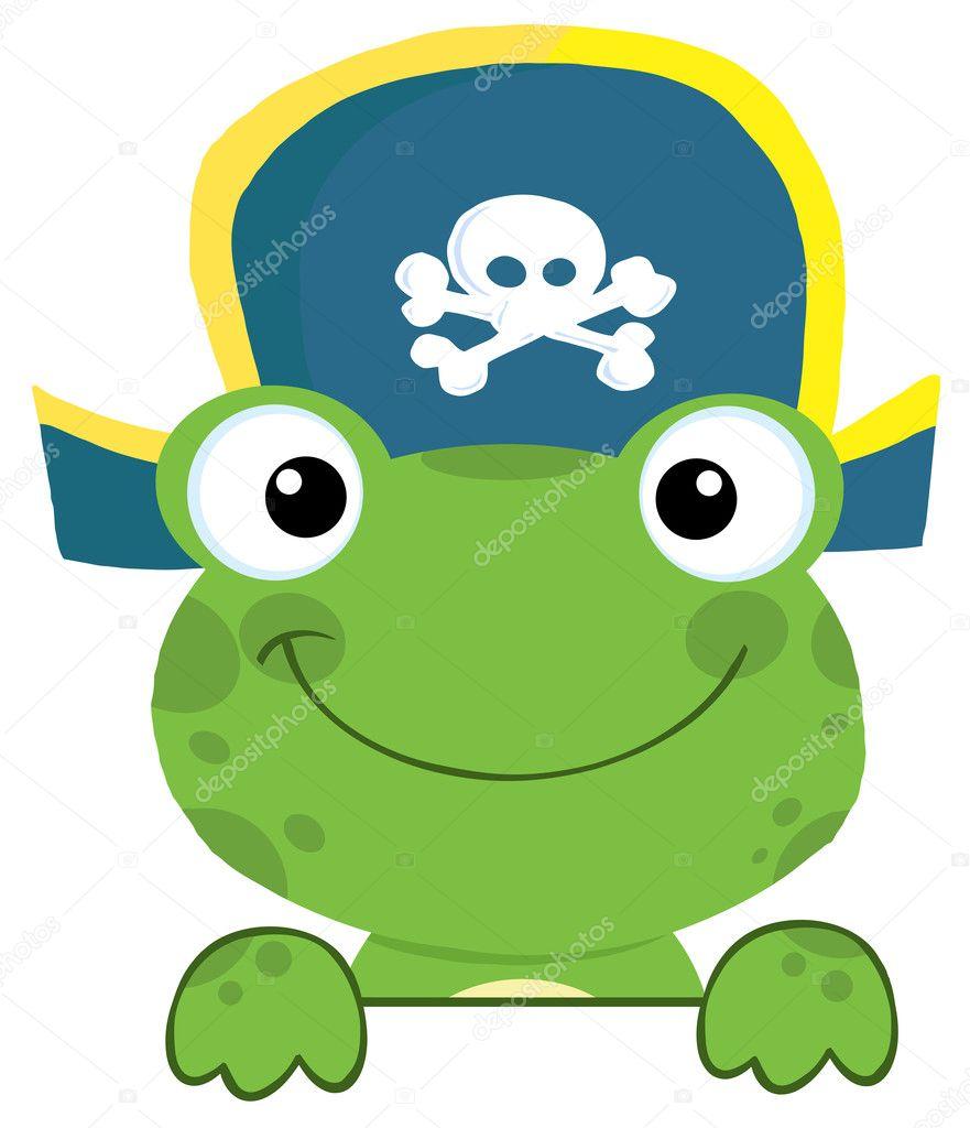 结束标志板的海盗帽的可爱青蛙 — 照片作者 hittoon