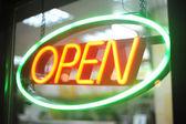 Neon light of Open sign — Stock Photo