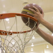 Scoring basket in basketball court — Stock Photo #14888209