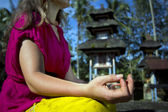 Yoga in balinese temple — Stock Photo