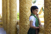 Traditional Dressed Girl in Temple — Stock Photo