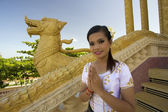 Asian Girl Greeting in Temple — Stock Photo