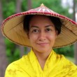 Stock Video: Attractive asian lady with hat