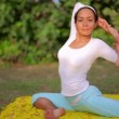 Outdoor yoga meditation exercise in nature — Stock Video