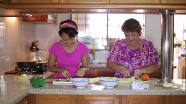 Mother daughter preparing meal together in kitchen — Stock Video