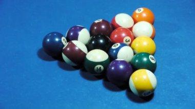 Pool balls separating during break — Stock Video