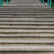 Stairs. Focus defocus steps rails - Stock Photo