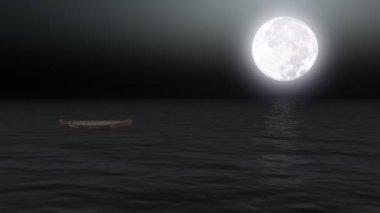 Boot op kalme zee onder maanlicht — Stockvideo