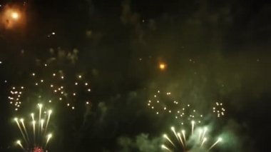 Firework over sea at night — Stok video