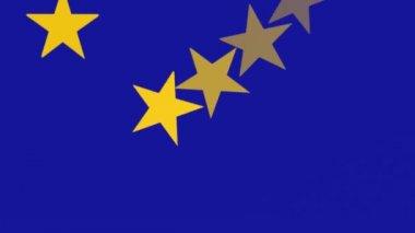 European Union Flag, Spinning Stars — Stock Video