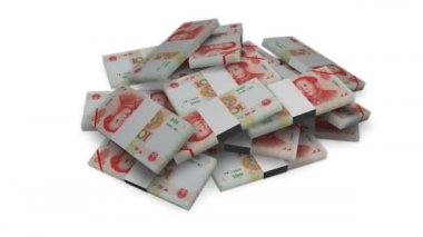 Forfaits argent yuan sur blanc — Vidéo