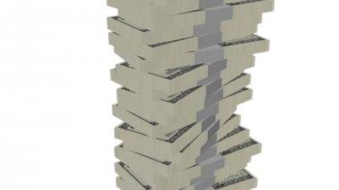 Dollar bill money tower on white — Stock Video