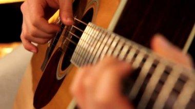 Man playing guitar close up — Stock Video