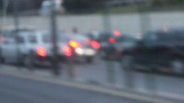 View of traffic jam from a moving car — Stock Video