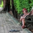 Homeless man sleep on bench — Stock Video