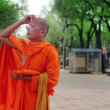 Buddhist monk at street — Stockvideo