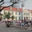 Stock Video: Bicycle rental, kota, jakarta, indonesia