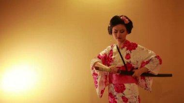 Japanese geisha samurai — Stock Video